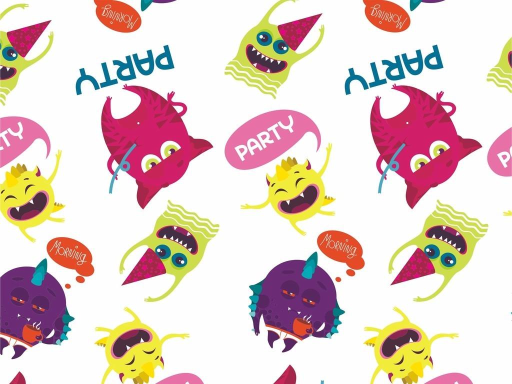 艺术文字卡通图案卡通动物怪兽儿童家纺设计