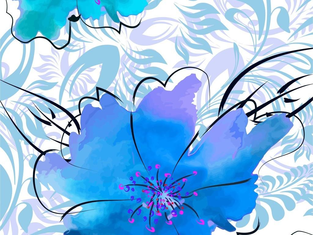 植物花卉手绘印花图案面料图案矢量图