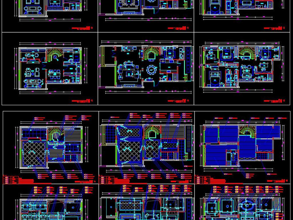 别墅施工图样板房cad图纸含效果图平面设计图下载(13.