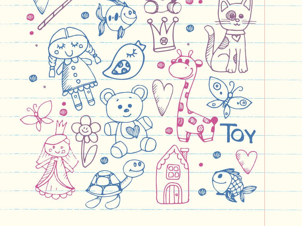 儿童手绘绘画黑板涂鸦设计图片