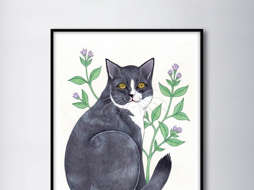 黑猫花草新中式小清新手绘欧式家居装饰画