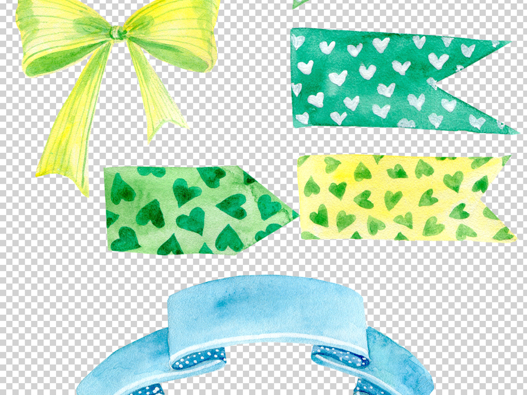 超美蝴蝶结水彩丝带手绘高清透明png素材