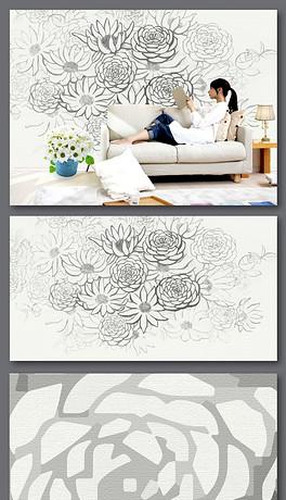 手绘花卉花朵线描背景墙-JPG线描花朵背景图片