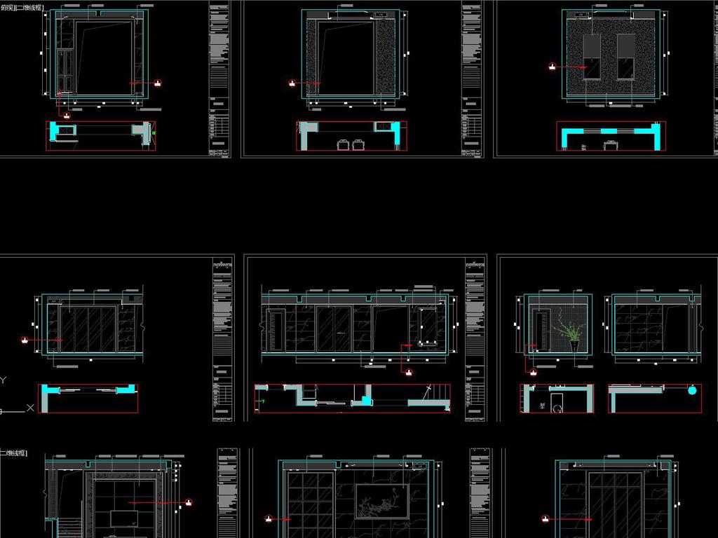 中式别墅施工图效果图施工图服装店cad立面图大堂cad立面图室内设计
