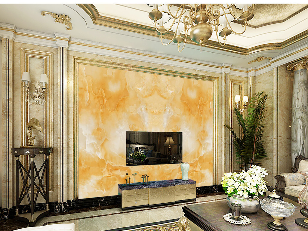 大理石纹富贵金山欧式电视背景墙图片