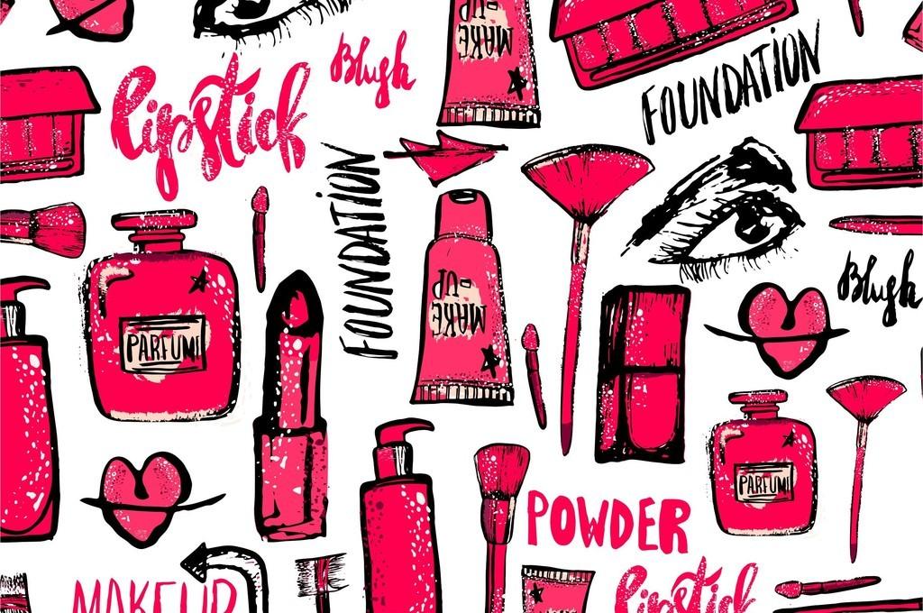 卡通手绘口红化妆品背景墙商场海报印刷图片