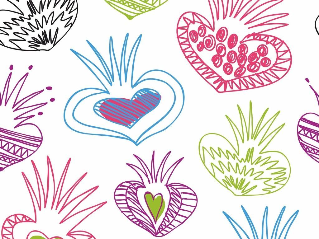 无规则图形爱心图案抽象图案背景墙印花图案