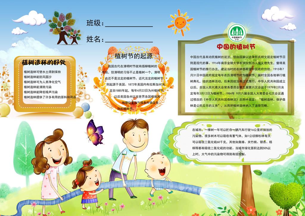 手绘儿童植树节抄报植树节宣传海报植树节海报设计植树节海报素材植树