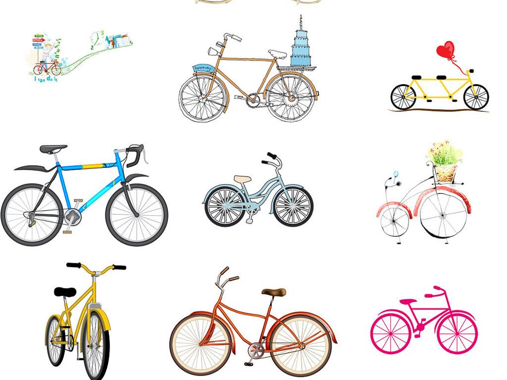 可愛學生卡通自行車單車免摳圖素材2