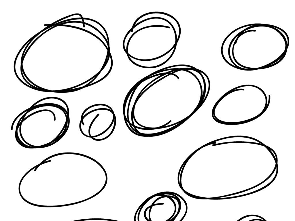 文字框圆圈手绘圆修饰圆卡通图案模板