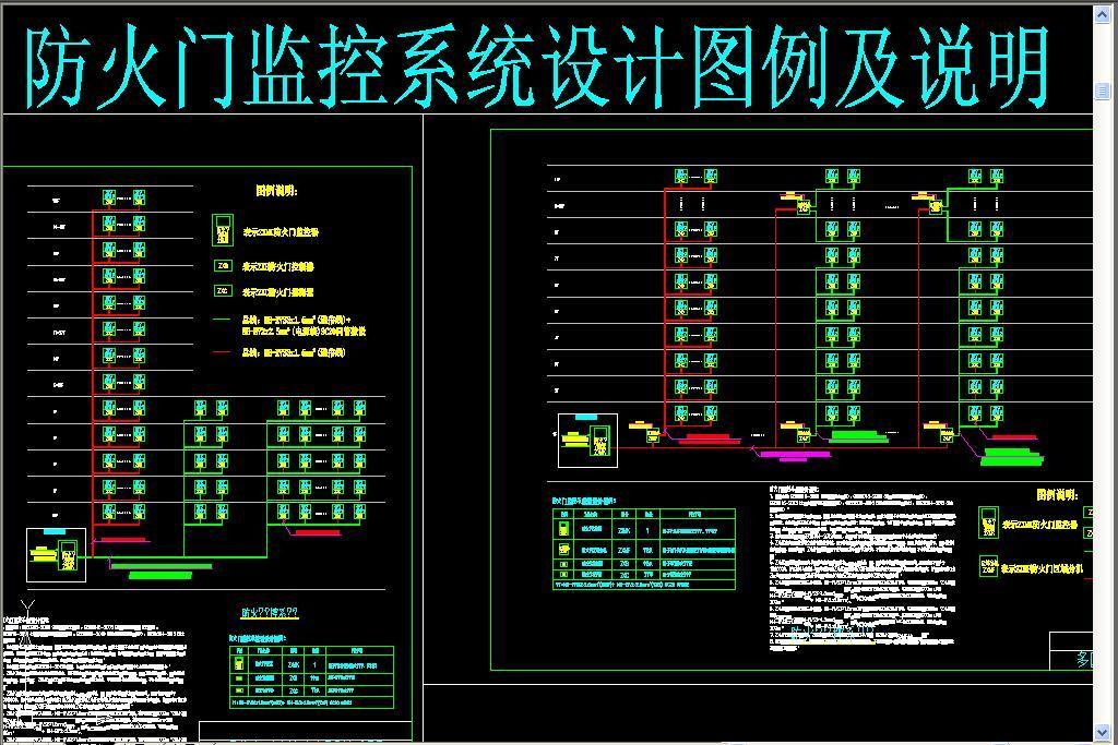 dwg)消防设备电源监控系统防火门监控系统弱电cad防火门监控系统设计