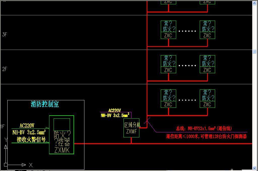 cad图库 室内设计cad图库 cad图纸 > 消防设备电源监控系统及防火门