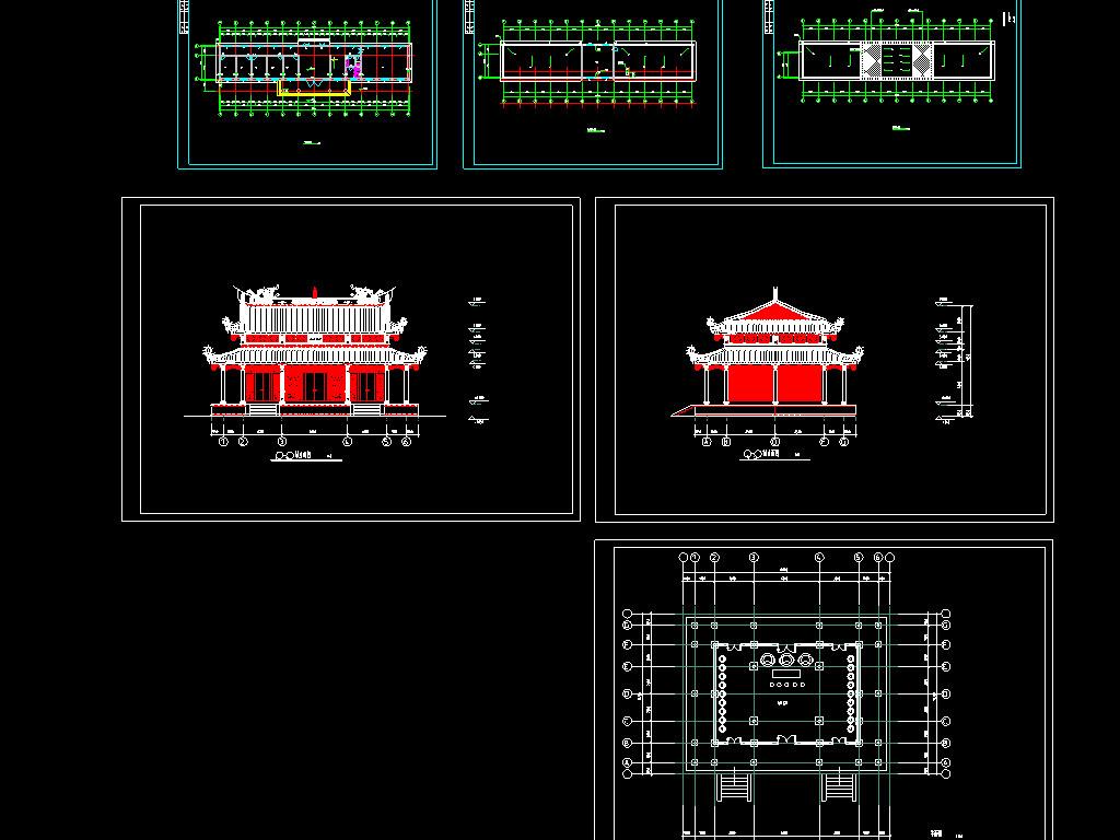8套古建筑cad设计图