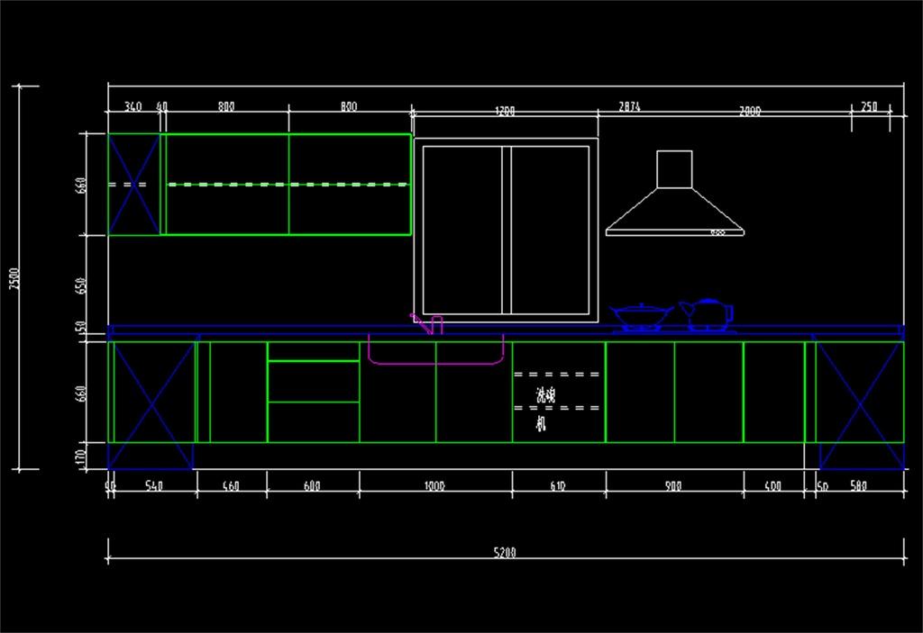 厨房cad平面设计图