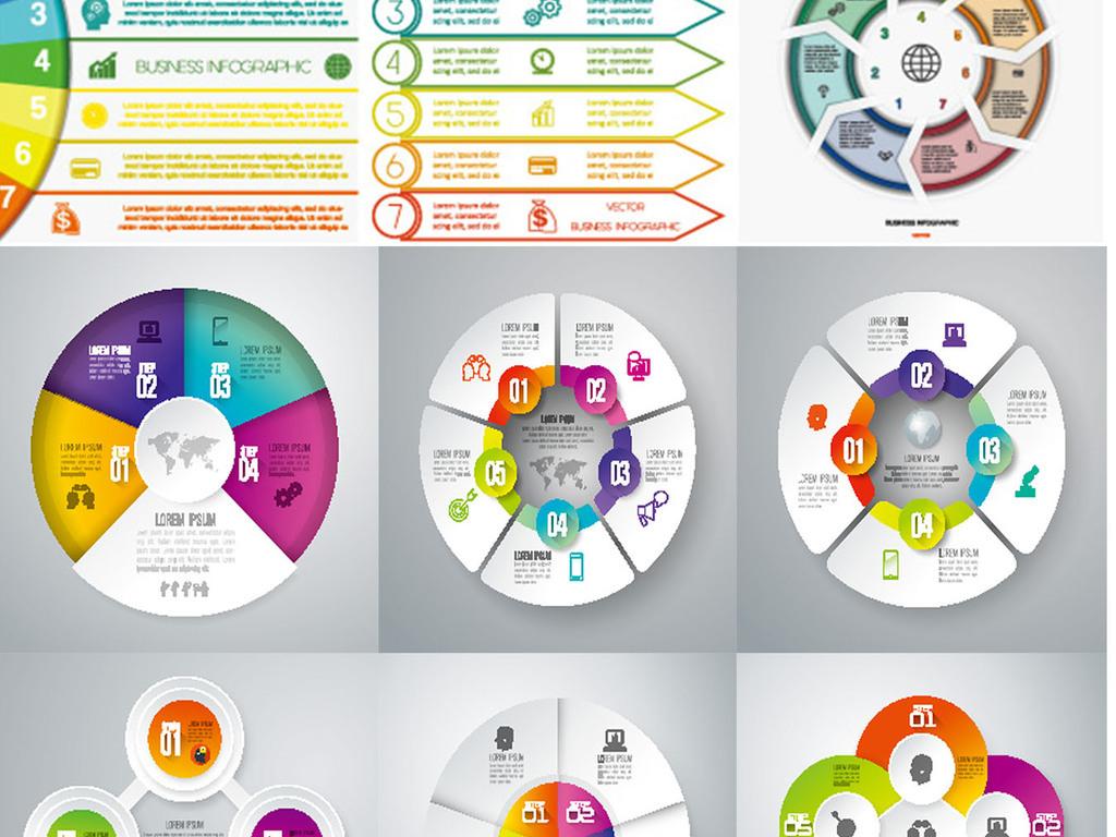我图网提供精品流行120套矢量圆形循环分析素材信息图表下载,作品模板源文件可以编辑替换,设计作品简介: 120套矢量圆形循环分析素材信息图表 矢量图, RGB格式高清大图,使用软件为 Illustrator CS6(.eps) PPT素材 PPT元素 矢量