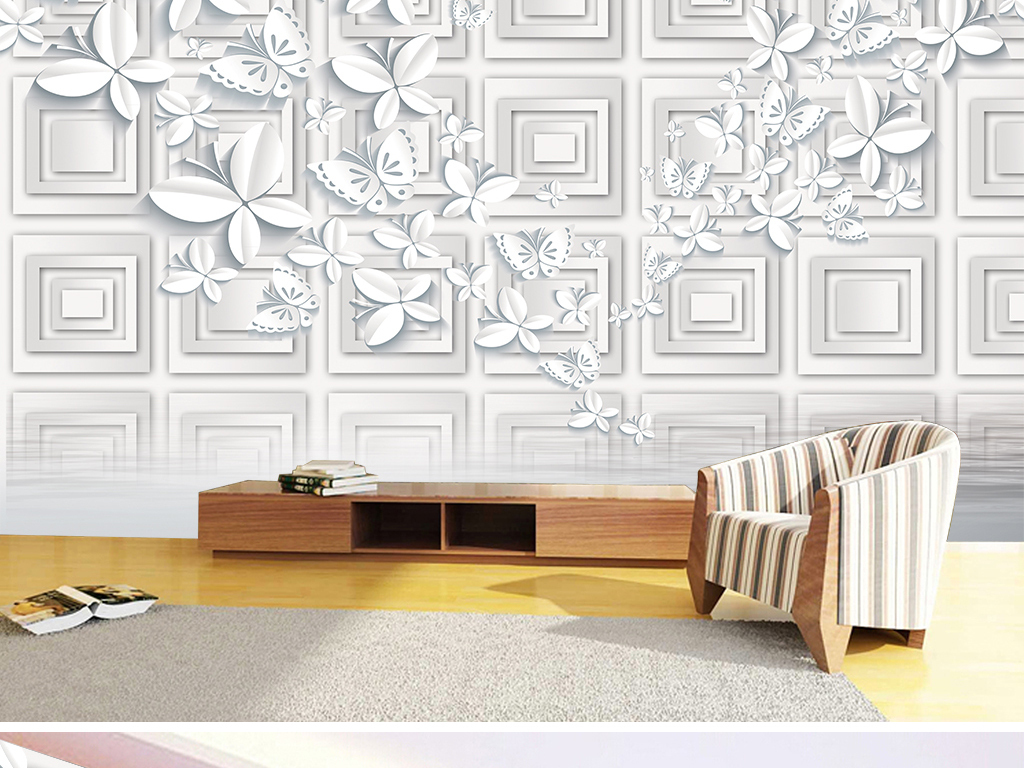 3D立体正方形简约折纸蝴蝶水中倒影装饰背景墙