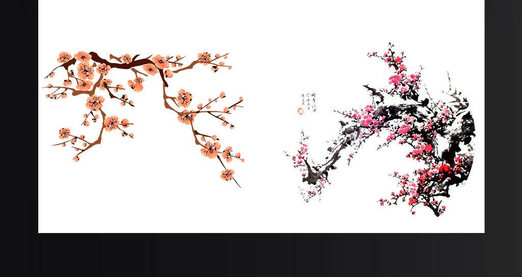 素材水墨素材漂浮梅花树枝梅花素材黄色梅花中国古风古风背景唯美古风