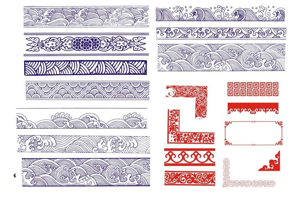 中国风古典底纹边框矢量图形素材