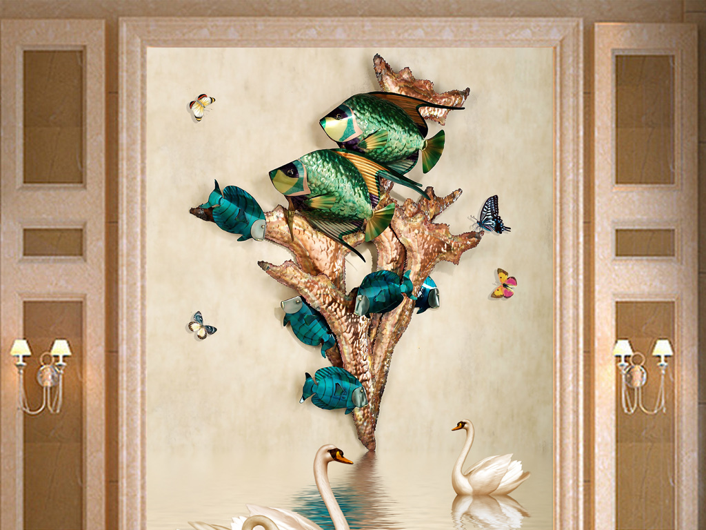 立体金鱼玄关欧式唯美时尚图片设计素材 高清模板下载 76.94MB 3D玄