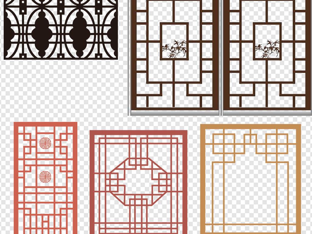 各种中式窗花格图案png素材