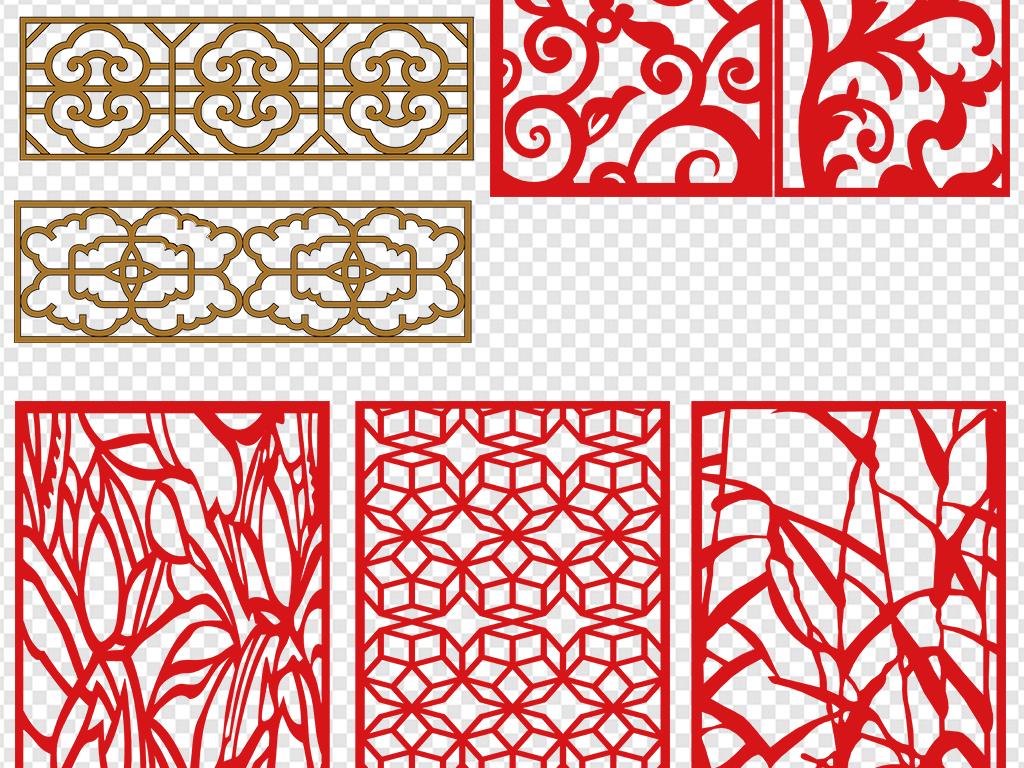多种中式窗花格图案png素材