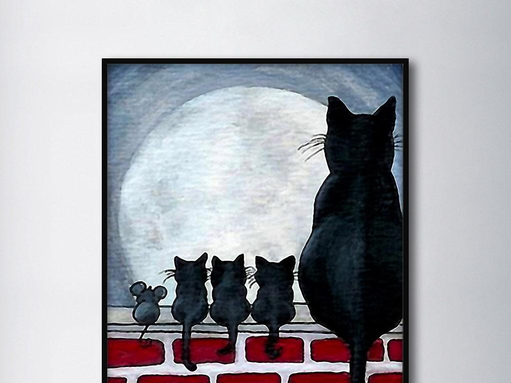 猫和老鼠可爱北欧手绘拟人化现代家居.
