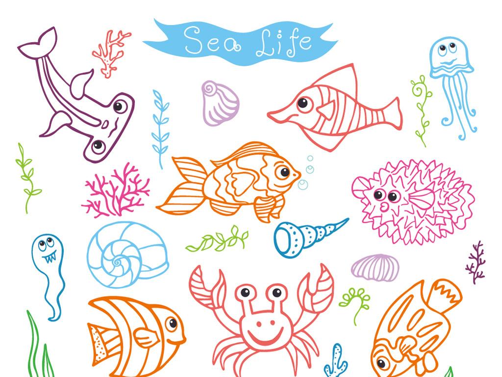 设计作品简介: 儿童画海底世界蜡笔画水彩画鱼海星水草螃蟹 矢量图, r