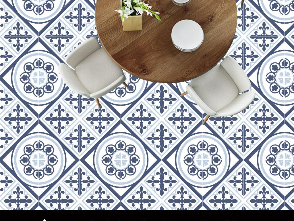 地中海风情复古花纹花砖图案