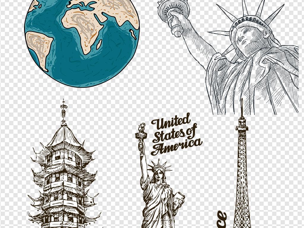 世界标志性建筑手绘线绘彩绘卡通