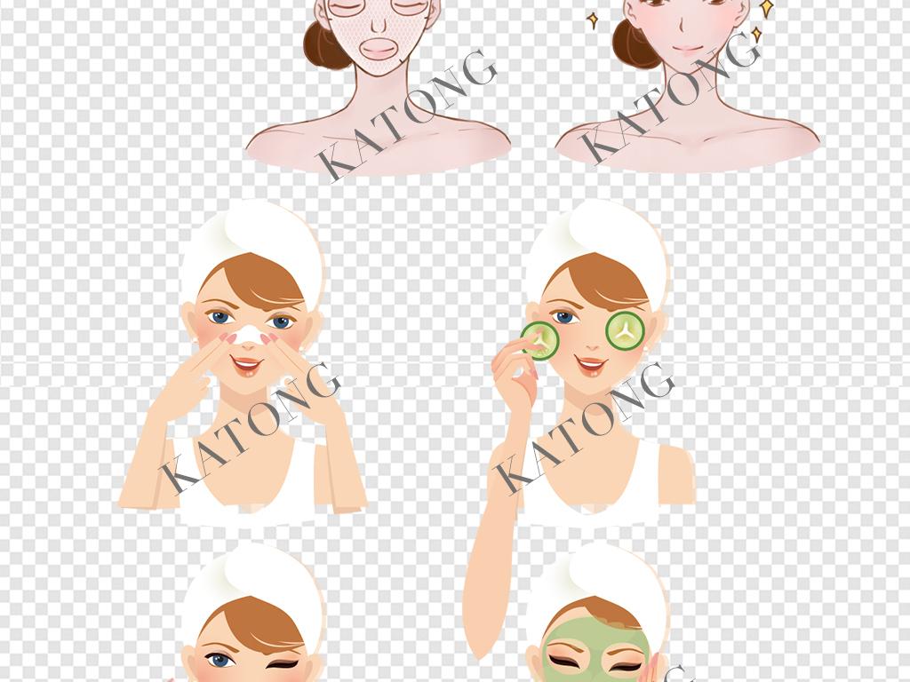 3套卡通美女敷面膜步骤图