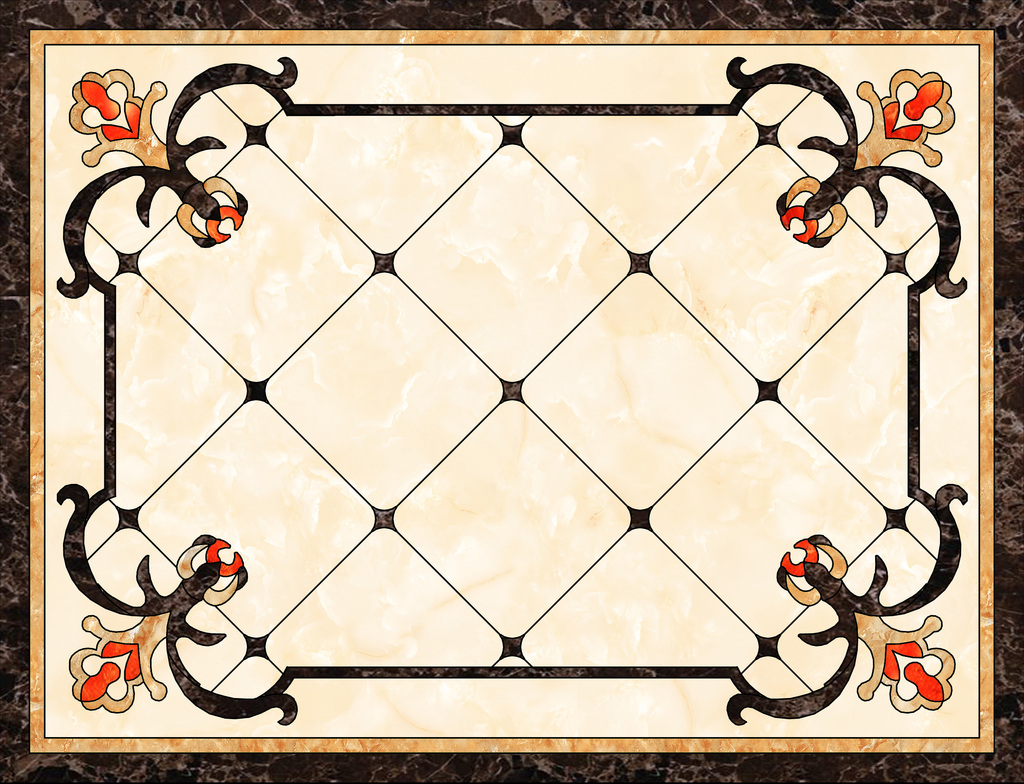psd)瓷砖地面水刀拼花客厅地面大理石水刀瓷砖水刀拼花效果图