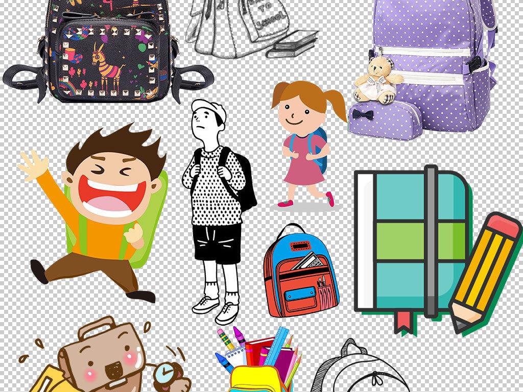 卡通手绘学生书包文具设计海报素材