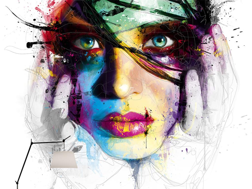 手绘缤纷彩色泼墨美女头像复古怀旧个性壁画