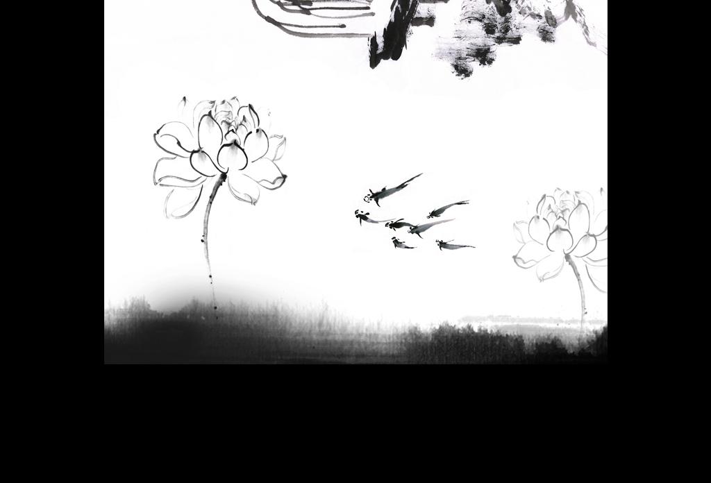 高清新中式黑白山水书法背景墙素材