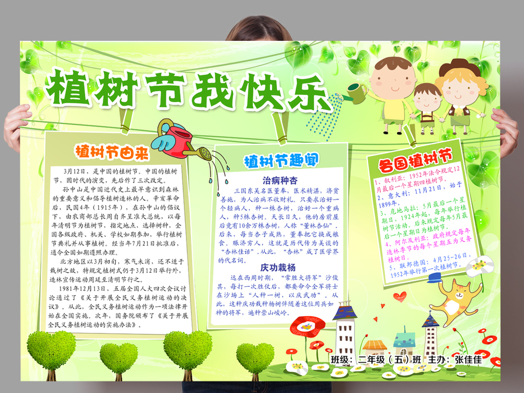 植树节psd手抄报美化环境植树节模板设计