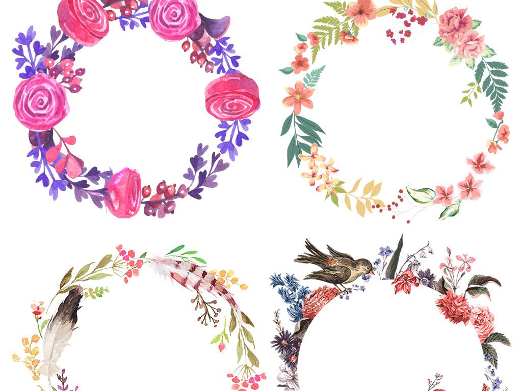 手绘花环素材精美卡通花环边框花边花框角花框黑板报花框花纹画框花框