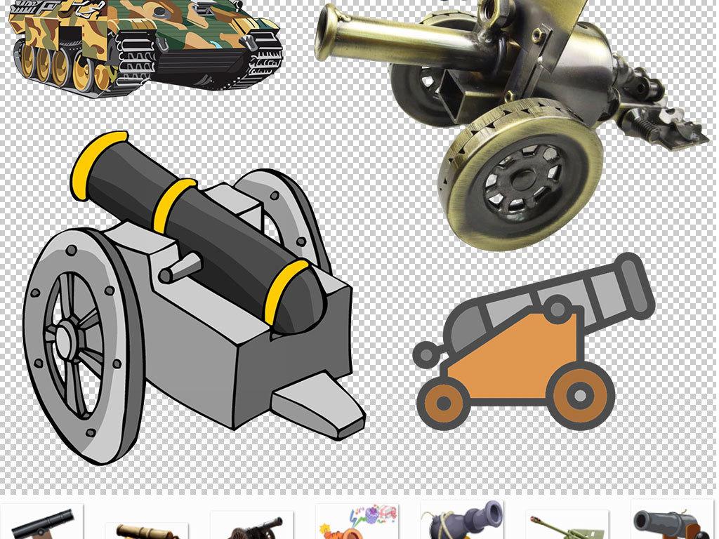 手绘战争古代大炮设计元素