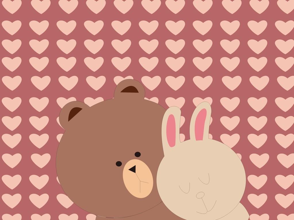 卡通动物兔子小熊心形底纹背景