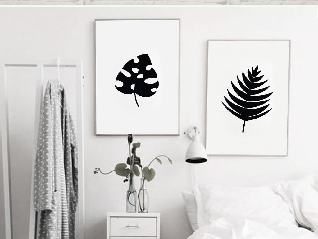 时尚英文蜻蜓树叶黑白装饰画简约