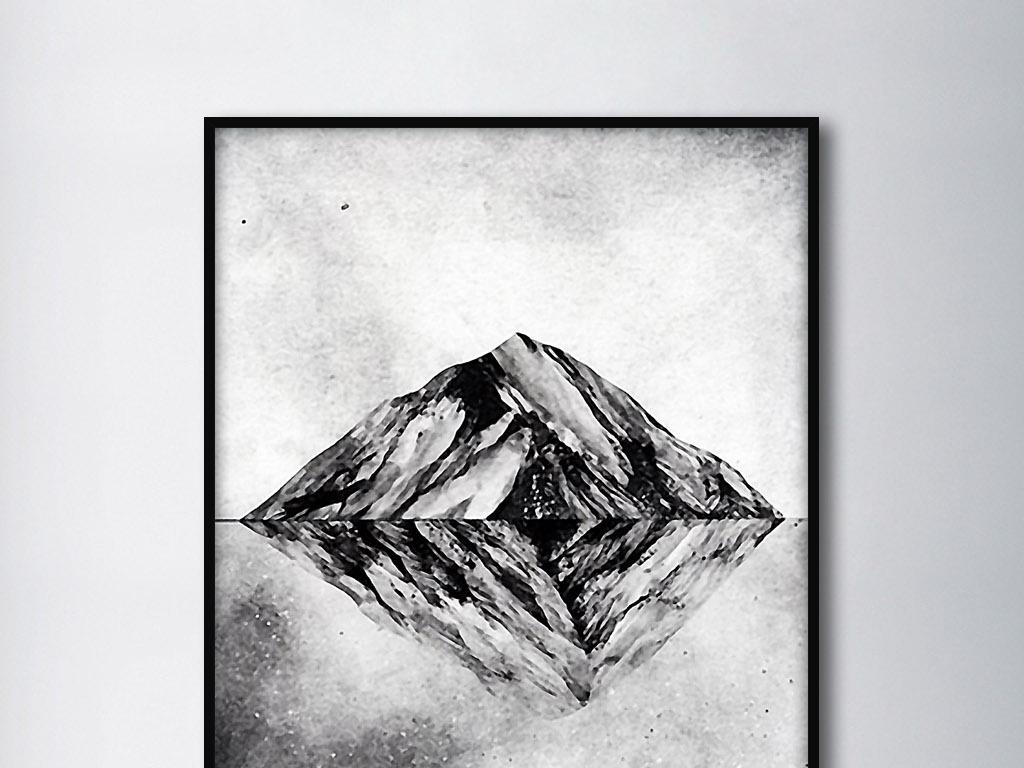 冰山倒影北欧简约手绘黑白现代时尚装.