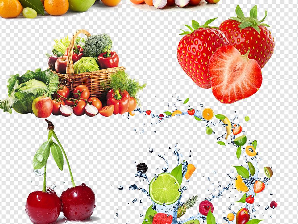 手绘食物图片食物卡通水果图案图标健康柠檬蓝莓草莓蔬菜水果红苹果红