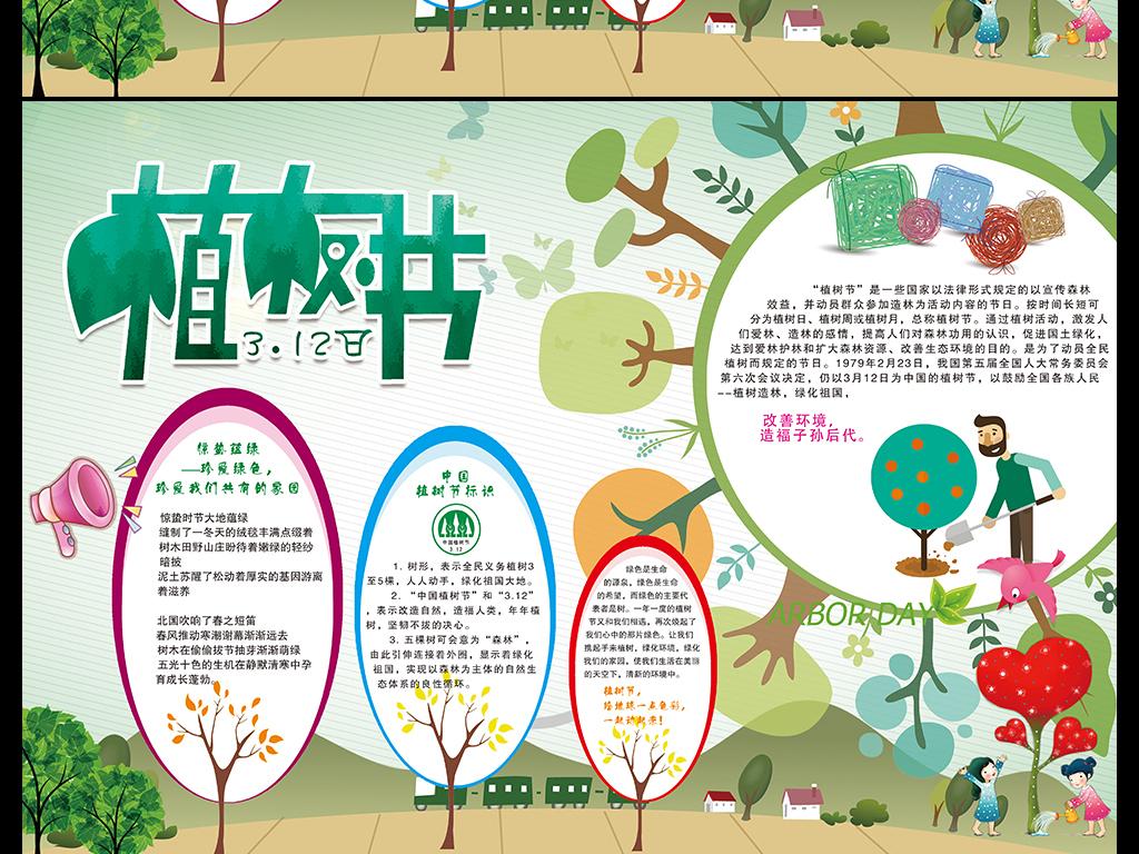 12植树节手抄报电子小报