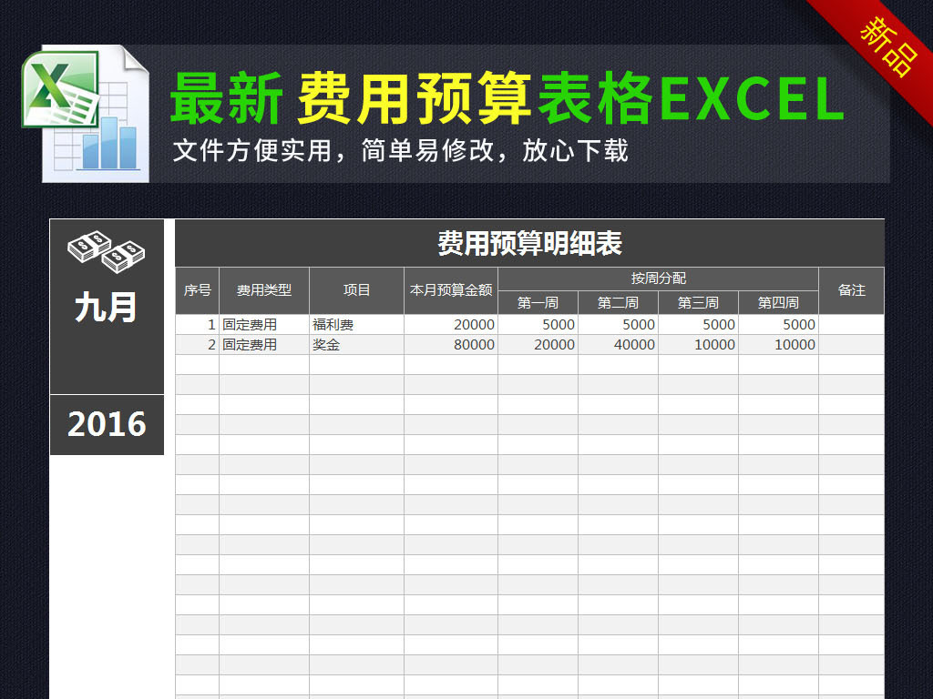 公司月度费用预算明细表格模板excel