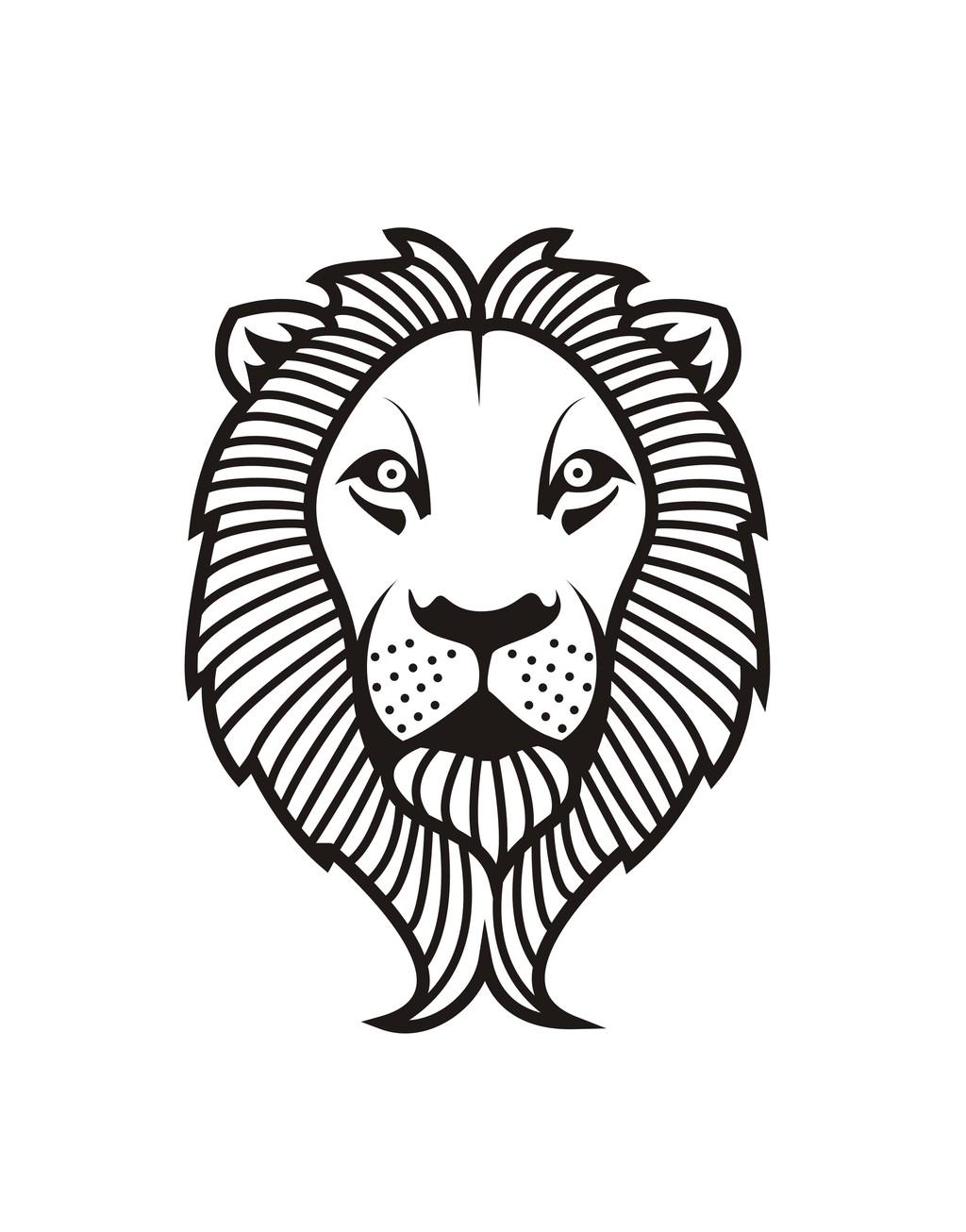 卡通动物简笔画狮子