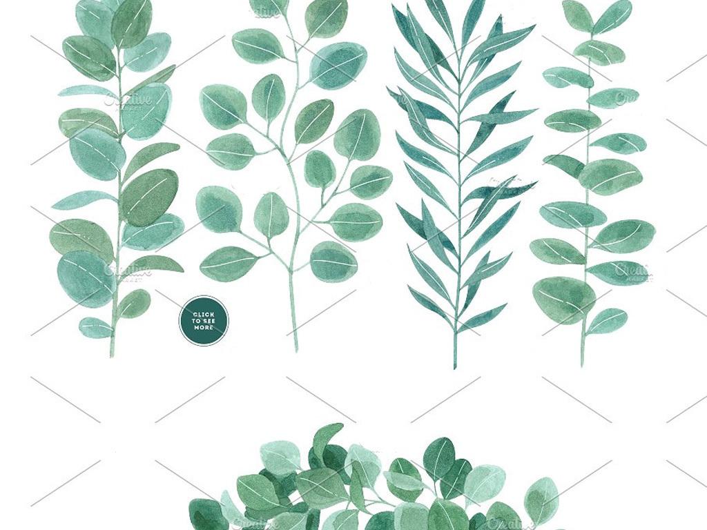 森系手绘水彩植物叶子树枝藤条卡片设计素材