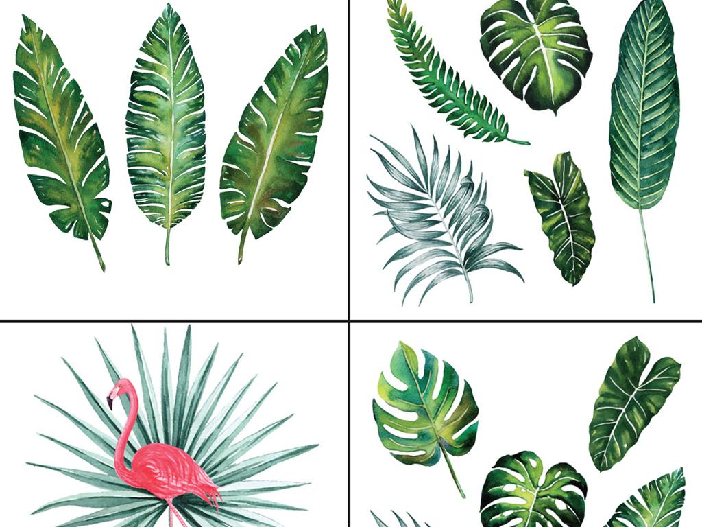 设计元素 自然素材 树叶 > 水彩手绘热带动物植物eps矢量设计素材