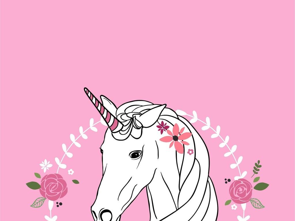 卡通图案卡通动物马独角兽印花矢量图