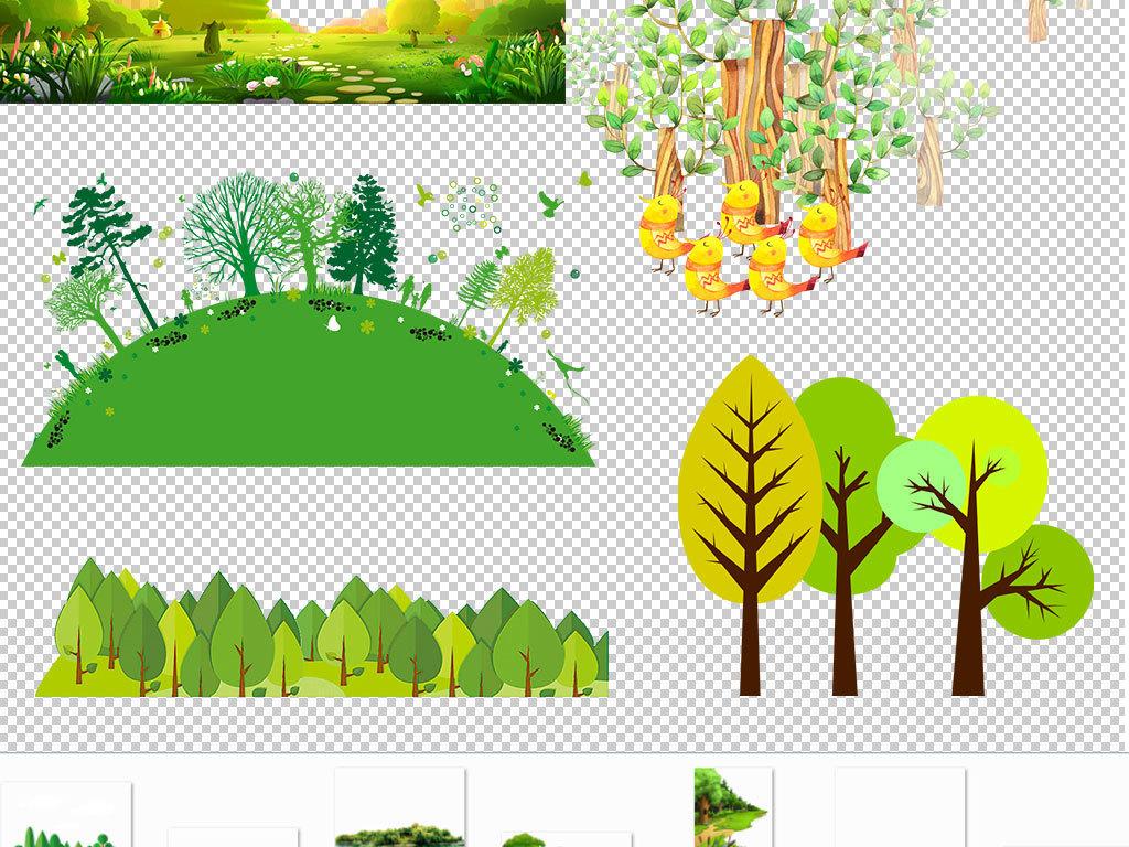 背景手绘森林树木剪影                                  成长小树图片