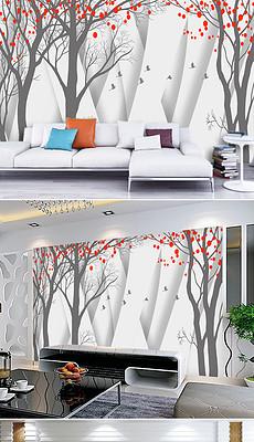 淡雅森林飞鸟手绘3D电视背景墙-手绘3d画图片素材 手绘3d画图片素材