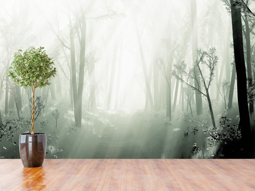 梦幻森林唯美清新背景北欧图片